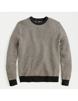 Rugged Merino Houndstooth Crewneck Sweater by J.Crew