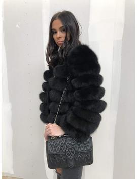 Fur Coat Fox Fur Jacket Black by Etsy