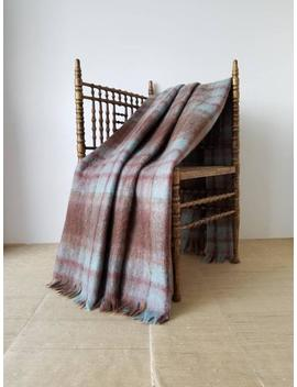 """Vintage Scottish Mohair Wool Plaid Camp Blanket Aqua Blue, Chartreuse Green, Mauve Rust Orange, Vicuna Brown, Olive Green, Gray 