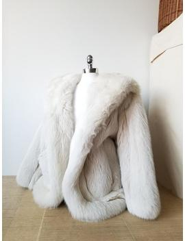 Broadway Show Destash: Creamy White Vintage 1980s Fox Fur Coat, Glamour Fashion, Winter Jacket, Topper With Hood, Super Warm Cozy Sexy Luxe by Etsy