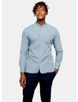 Selected Homme Blue Grandad Collar Stripe Shirt by Topman
