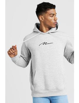 Man Signature Oversized Over The Head Hoodie by Boohoo