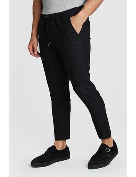 Wool Look Windowpane Check Jogger Trouser by Boohoo