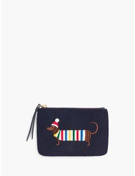 Embroidered Dachshund Zip Top Pouch by Talbots