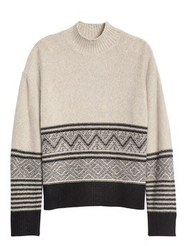 Petite Fair Isle Mock Neck Sweater by Banana Repbulic