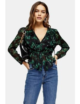 Petite Black And Green Daisy Print Blouse by Topshop