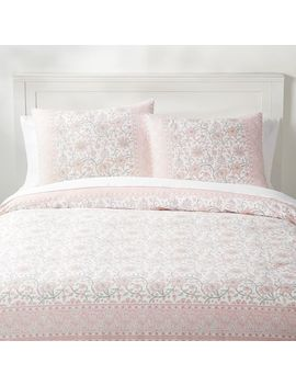 Paisley Floral Organic Duvet Cover, Twin/Twin Xl, Powdered Blush Multi by P Bteen