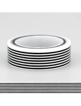 15mm *10m 1pc Black & White Horizontal Stripes Primary Patterned Washi Tape,Adhesives Tape Scrapbooking Craft & Hobby Supplies by Ali Express.Com