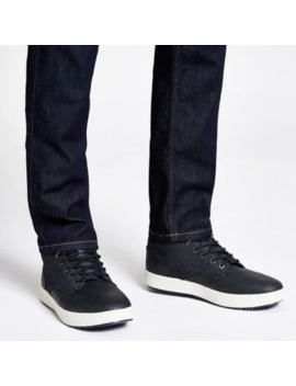 Navy Faux Leather Denim Mid Top Trainers by River Island