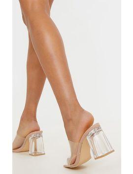 Nude Clear Block Heel Mule by Prettylittlething