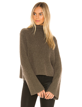 Miranda Turtleneck In Olive by 360 Cashmere