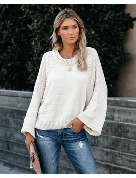 First Snow Pearl Embellished Chenille Knit Sweater by Vici