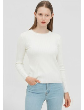 Silk And Wool Blend Ribbed Sweater by Lily Silk