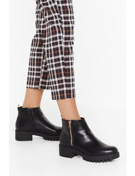 Pu Side Zip Flat Cleated Biker Boots by Nasty Gal