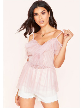 Lola Dusty Pink Mesh Layered Ruffle Top by Missy Empire