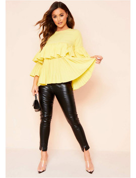 Sophie Yellow Pleated Layered Top by Missy Empire