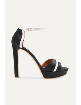 Miranda 125 Metallic Leather Trimmed Satin Platform Sandals by Malone Souliers