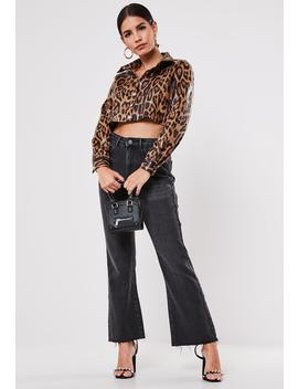 Petite Brown Faux Leather Leopard Print Cropped Jacket by Missguided