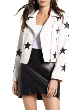 Star Patch Faux Leather Moto Jacket by Blanknyc