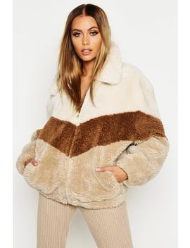 Tonal Stripe Teddy Faux Fur Bomber by Boohoo