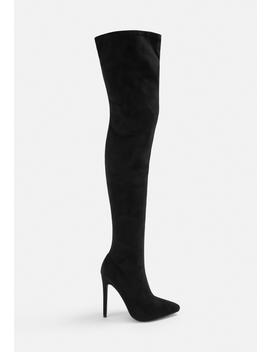 Black Faux Suede Stiletto Over The Knee Boots by Missguided
