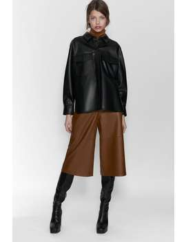 Faux Leather Shirt With Pockets by Zara