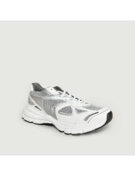 Silver White Leather And Polyester Marathon Runner Sneakers Silver White Leather And Polyester Marathon Runner Sneakers by Axel Arigato