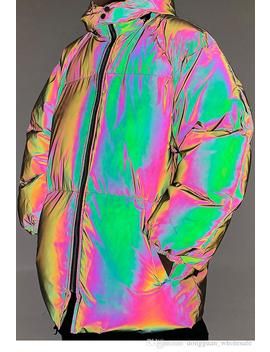 Hip Hop Hooded Jacket Parka Ab Rainbow Color 3 M Reflective Men Windbreaker Streetwear Harajuku Winter Padded Jacket Coat by D Hgate.Com
