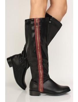 Black Striped Zipper Flat Riding Boots by Ami Clubwear