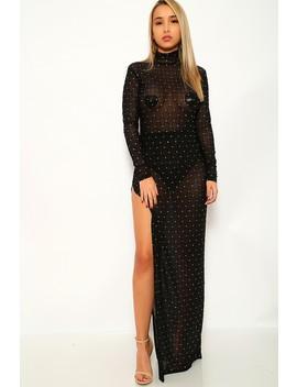 Black Mesh Long Sleeve Maxi Dress by Ami Clubwear