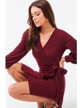 Marled Knit Mini Wrap Dress by Forever 21
