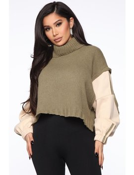 Cozy Lover Turtle Neck Sweater   Olive/Combo by Fashion Nova