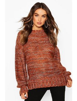 Balloon Sleeve Marl Mix Jumper by Boohoo