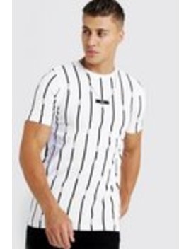 Man Stripe Printed T Shirt With Woven Tab by Boohoo Man