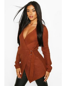 Wrap D Ring Belted Cardigan by Boohoo