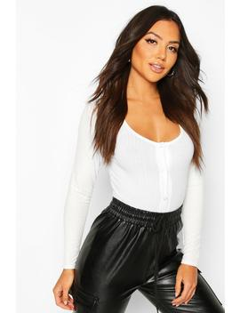 Soft Rib Popper Long Sleeve by Boohoo