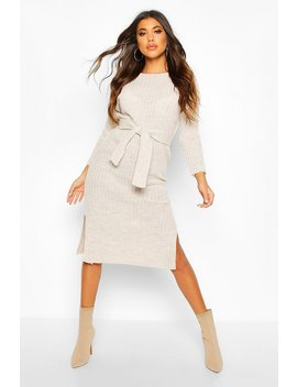 Rib Knit Tie Waist Midaxi Dress by Boohoo