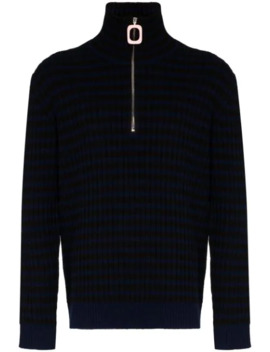 Striped Wool And Cashmere Half Zip Jumper by Jw Anderson