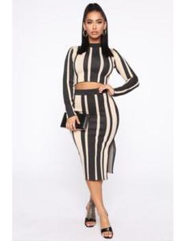 Never Out Of Line Skirt Set   Black/Taupe by Fashion Nova