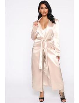No Expectations Satin Duster   Nude by Fashion Nova