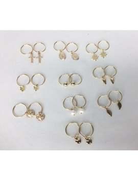 Gold Hoop Earrings, Small Charm Hoop Earrings, 14 K Gold Fill Earrings Everyday Hoops, Choice  Cross Heart Star Pearl Spike Leaf Mary Charm by Etsy