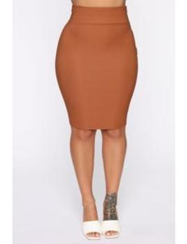 Office Beauty Pencil Midi Skirt   Camel by Fashion Nova