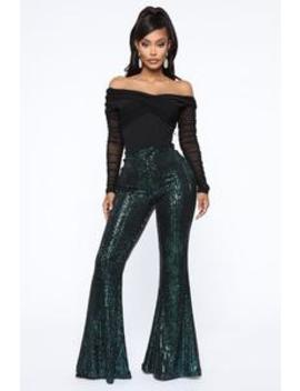Plans Without You Sequin Pants   Emerald by Fashion Nova