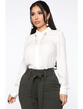 All Chained Up Button Down   White by Fashion Nova