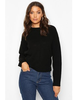 Tall Crew Neck Pearl Knit Crop Jumper by Boohoo