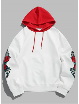 Salezaful Flower Embroidery Applique Sleeve Drawstring Hoodie   Love Red M by Zaful