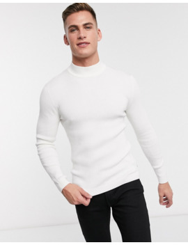 Esprit   Geribbelde Muscle Fit Coltrui In Gebroken Wit by Esprit