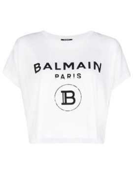 Logo Print Boxy Fit T Shirt by Balmain