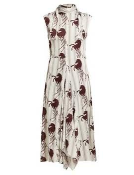 Little Horses Print Panelled Cady Midi Dress by Chloé
