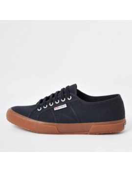 Superga Navy Classic Gum Sole Runner Trainers by River Island